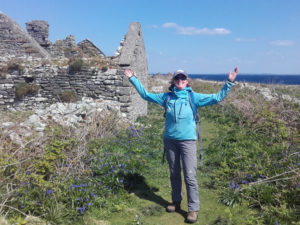 Auriel with open arms on Inishmurray Island