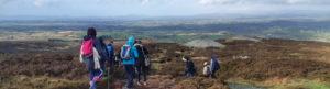 Hikers descending Bricklieve mountain