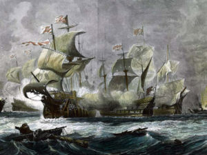 Armada Ships in Battle off Coast of England