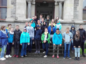 Group from Seatrails Standing On Steps of City Hall in Sligo