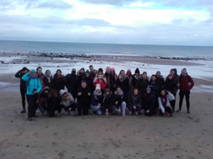 Group learning on beach at Streedagh with Auriel