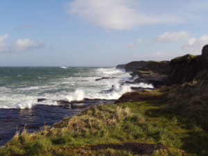 Waves crashing up against the rocks along The Wild Atlantic Way