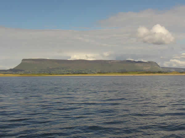 The side of Benbulben mountain with stream